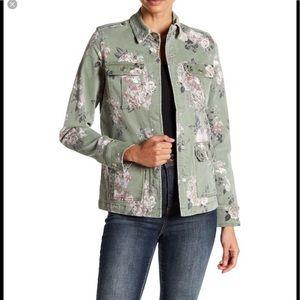 Kenzie Floral Print Denim Utility Jacket XS NWOT